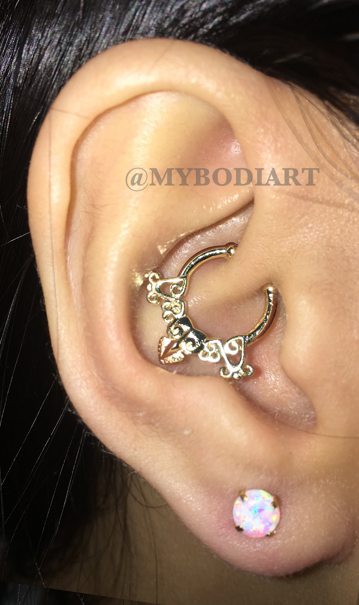 Cute Ear Piercing Ideas - Opal Lobe Earring Stud - Gold Rook Daith Hoop Ring - www.MyBodiArt.com