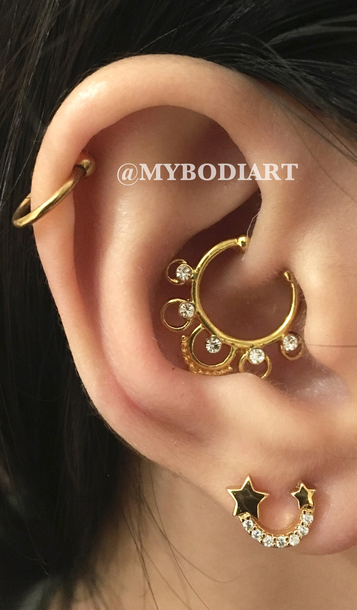 Multiple Ear Piercing Ideas - Single Gold Cartilage Ring - Rook Daith Hoop - Star Crystal Earring Lobe Stud - www.MyBodiArt.com