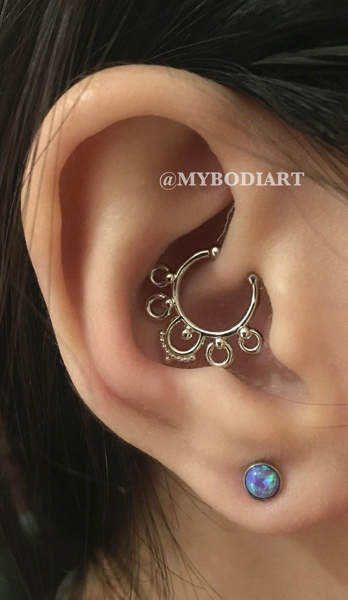 Pretty Ear Piercing Ideas for Teens - Gold Cartilage Jewelry, Daith Ring, Rook Hoop, Opal Lobe Earring Studs - www.MyBodiArt.com