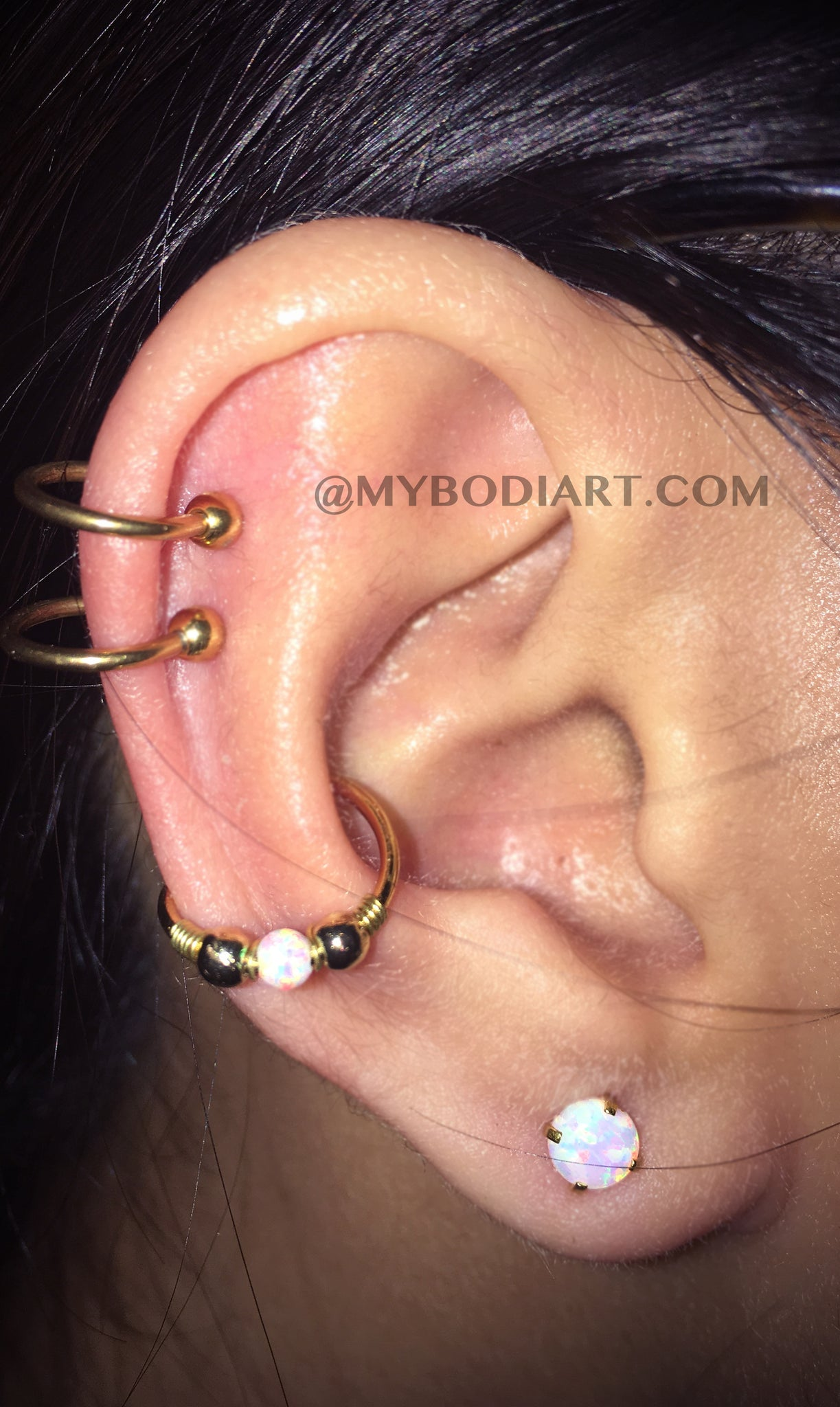 All the Way Around Multiple Ear Piercing Ideas - Double Cartilage Top Ear Rings - Conch Hoop - Opal Ear Lobe Studs - www.MyBodiArt.com