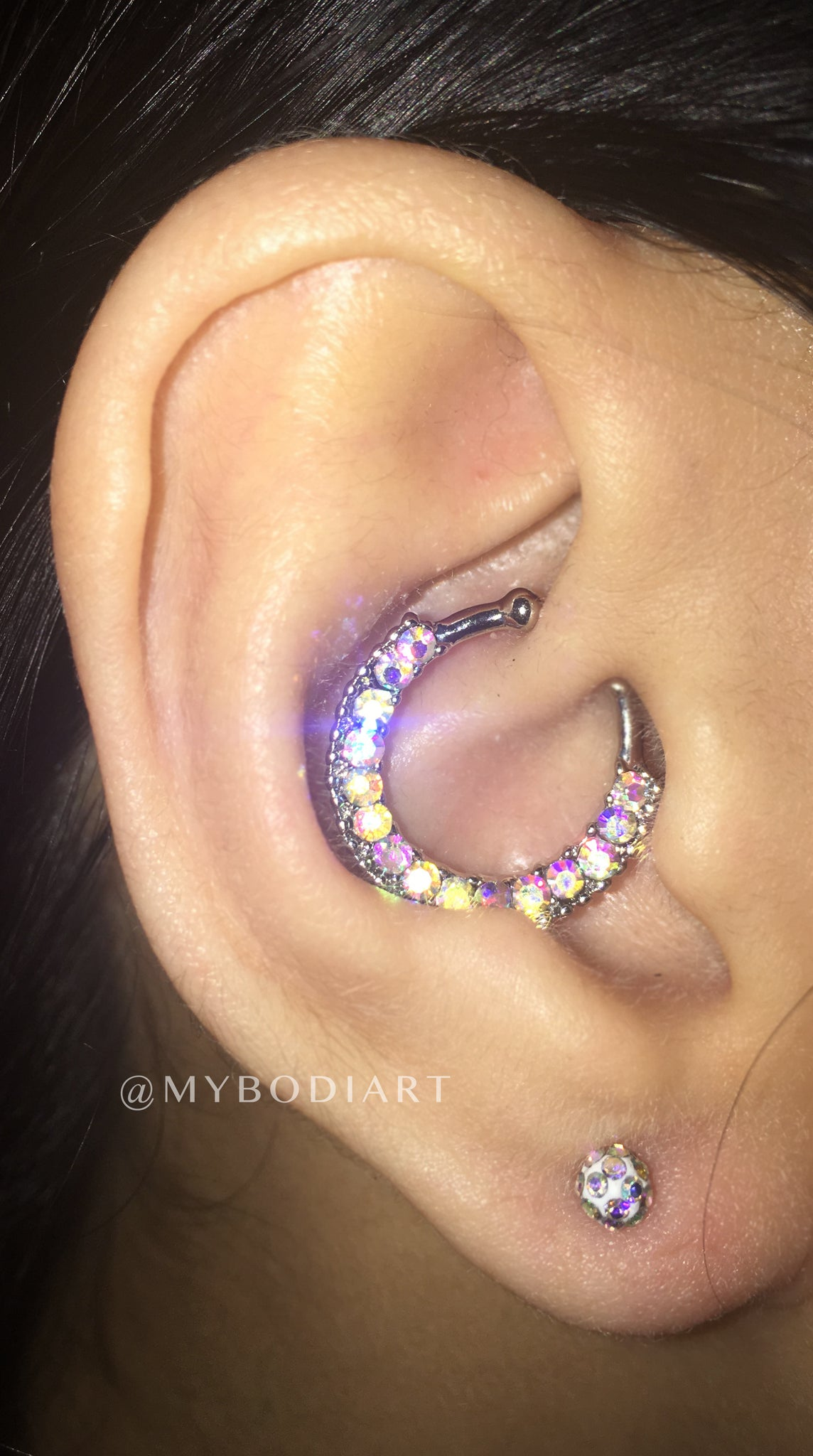 Pretty Feminine Ear Piercing Ideas for Teenagers - Rainbow Crystal Ball Earring Stud Cartilage, Helix, Tragus, Conch - www.MyBodiArt.com