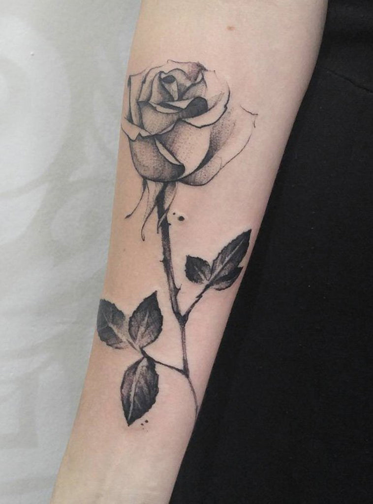 Single Black Rose Tattoo Arm Sleeve - MyBodiArt.com
