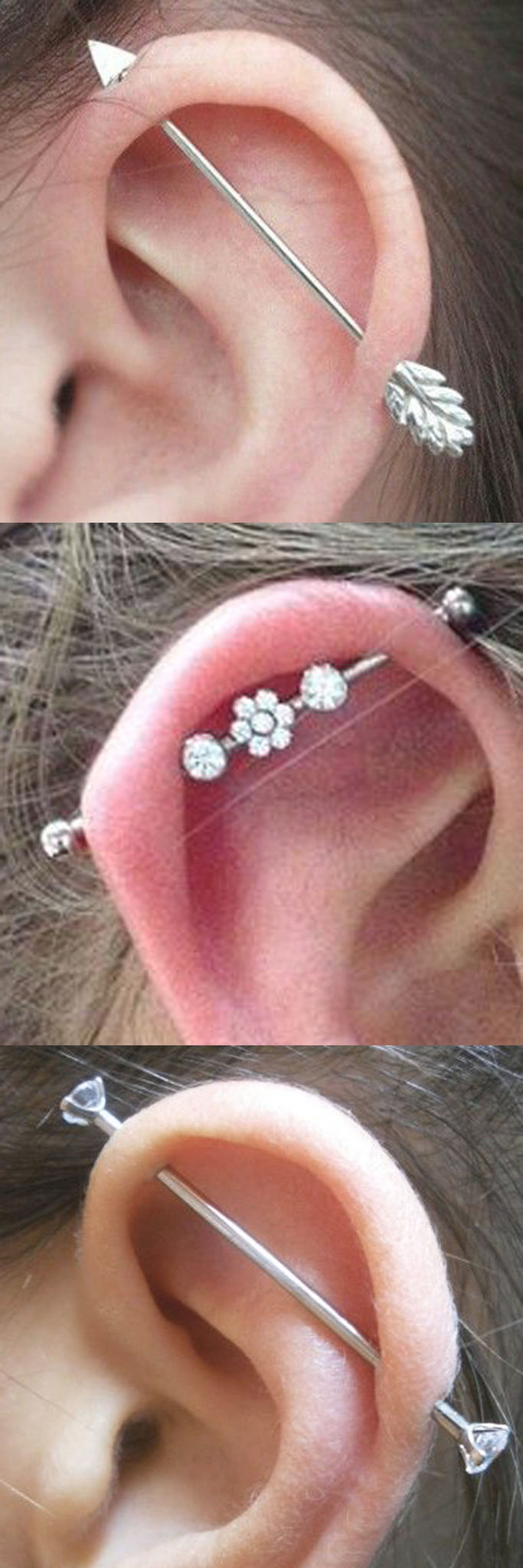 Upper Ear Piercing Ideas for Girls - Second Hole All the Way Up - Industrial Piercing Jewelry 14G at MyBodiArt.com