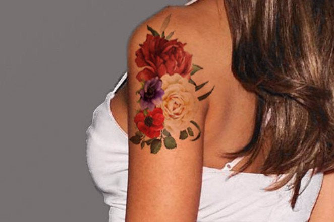 Vintage Floral Flower Rose Arm Sleeve Tattoo Ideas for Women at MyBodiArt.com