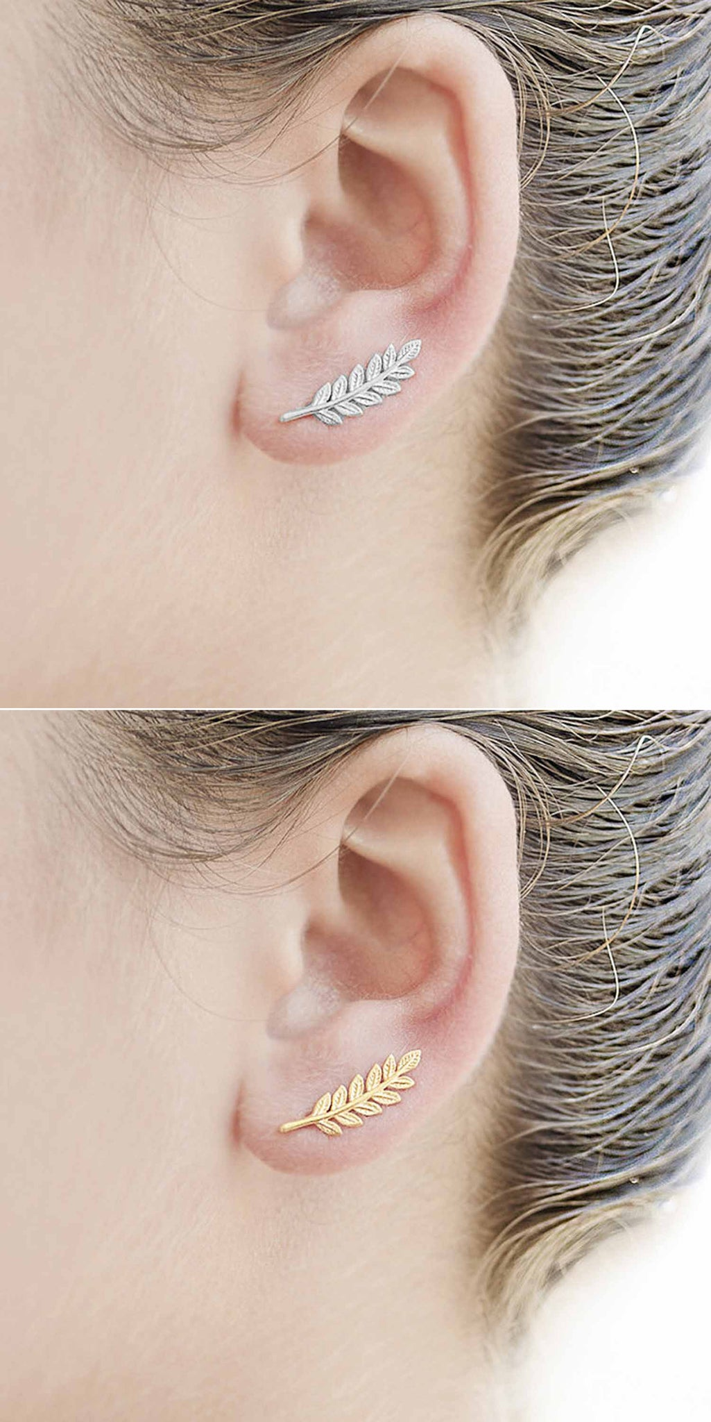 Cute Simple Ear Piercing Jewelry at MyBodiArt.com - Leaf Ear Climber Earring in Gold / Silver