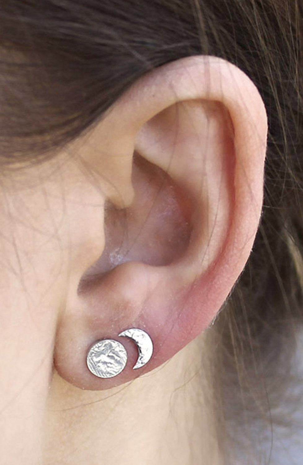 Cute Multiple Ear Piercing Ideas at MyBodiArt.com - Hammered Sterling Silver Metal Earrings Sun Moon