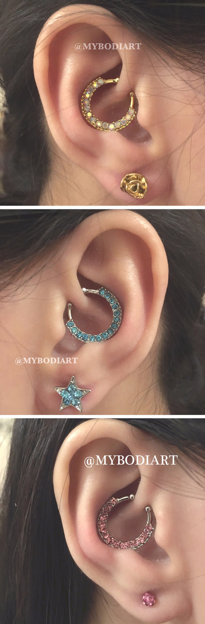 Cute Ear Piercing Ideas - Cartilage Daith Rook Ring Hoop Crystal Earring Stud 16G - www.MyBodiArt.com