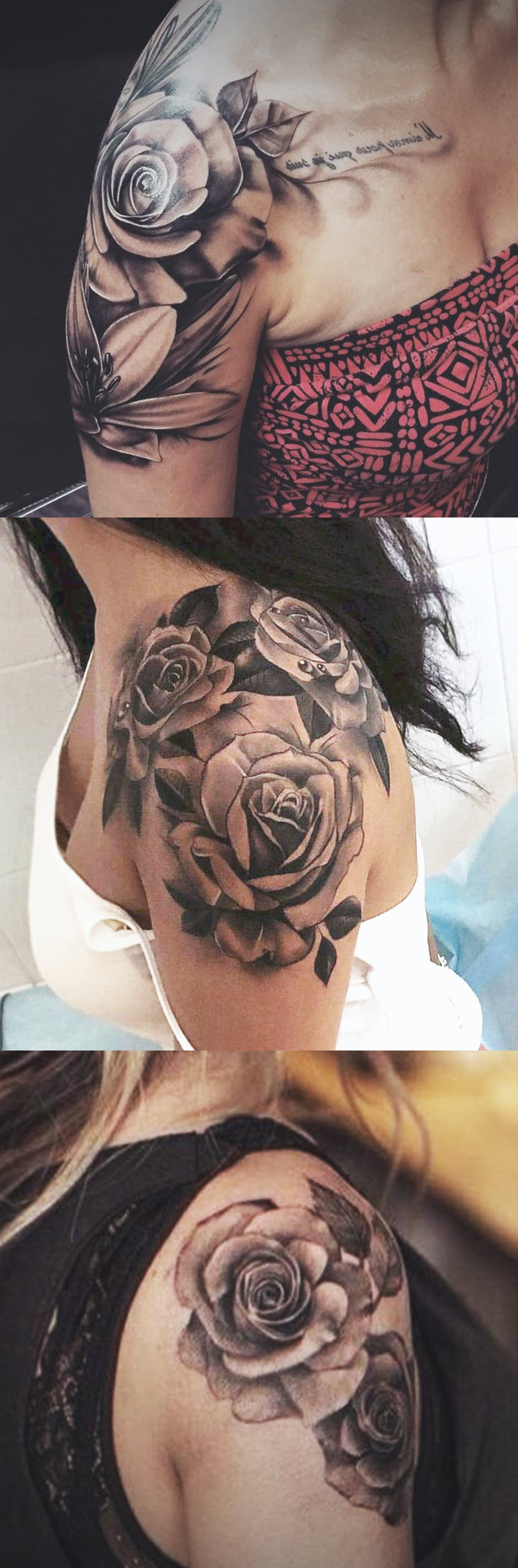 f212c3e3c Women's Rose Shoulder Tattoo Ideas in Black and White Realistic Left Floral  Arm Sleeve Tatouage Ideas