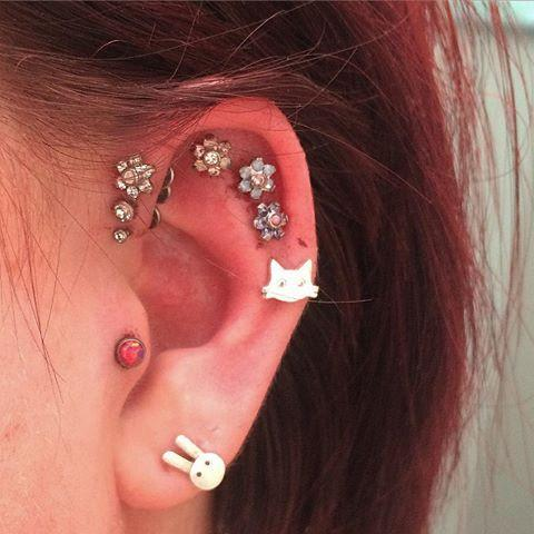 Red Opal Tragus Piercing Stud at MyBodiArt