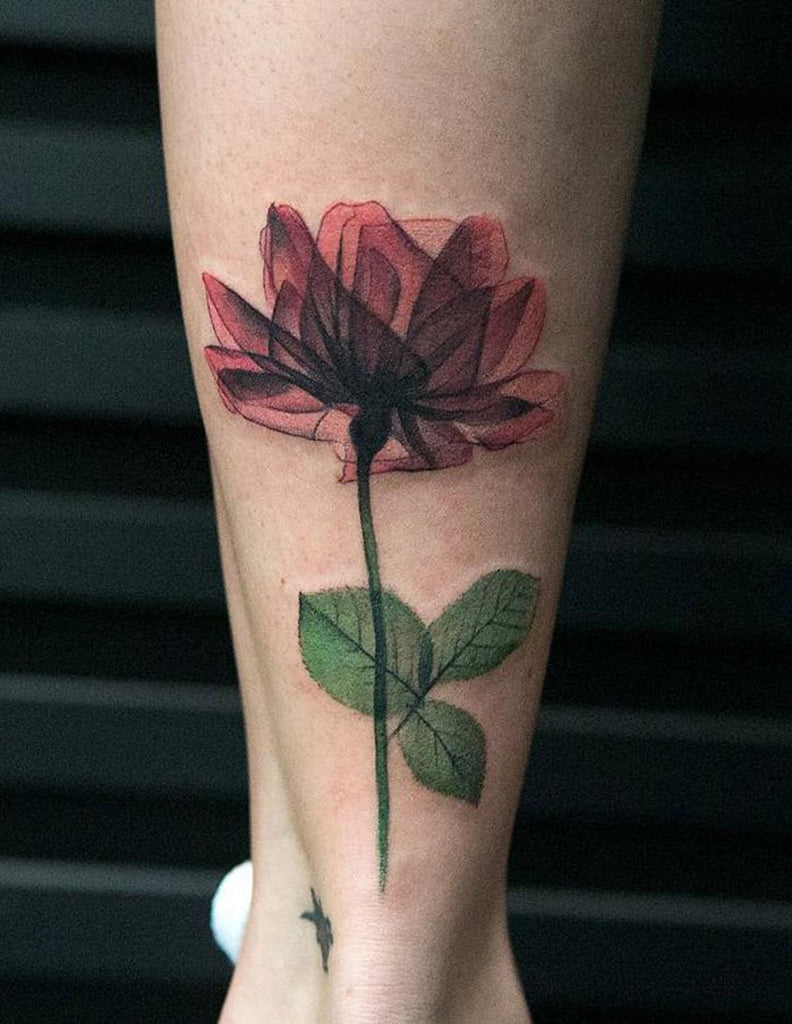 X Ray Flower Tattoo for Women - Ankle Calf Leg - MyBodiArt.com
