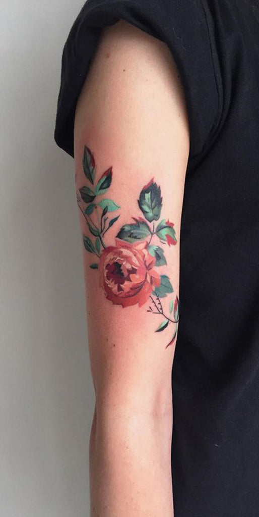 Traditional Vintage Realistic Pink Rose Arm Sleeve Tattoo - MyBodiArt.com