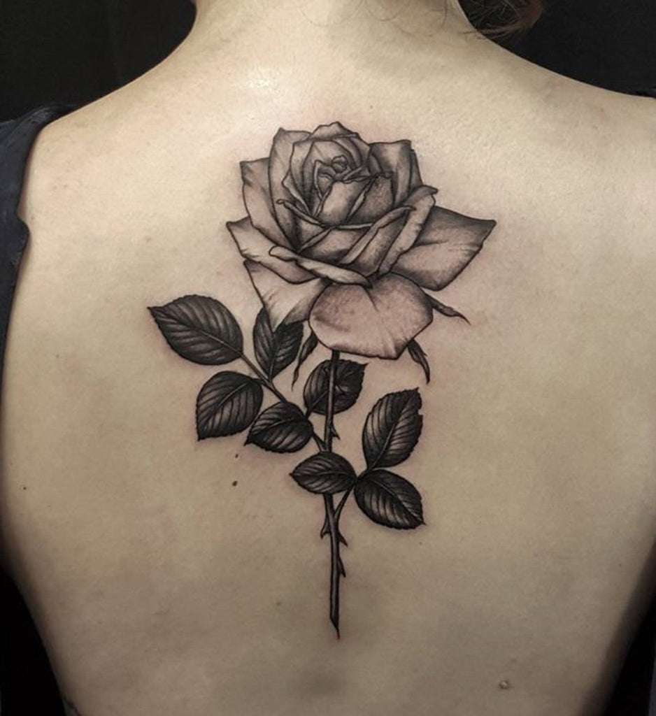 Simple Singel Black Rose Back Tattoo for Women - MyBodiArt.com