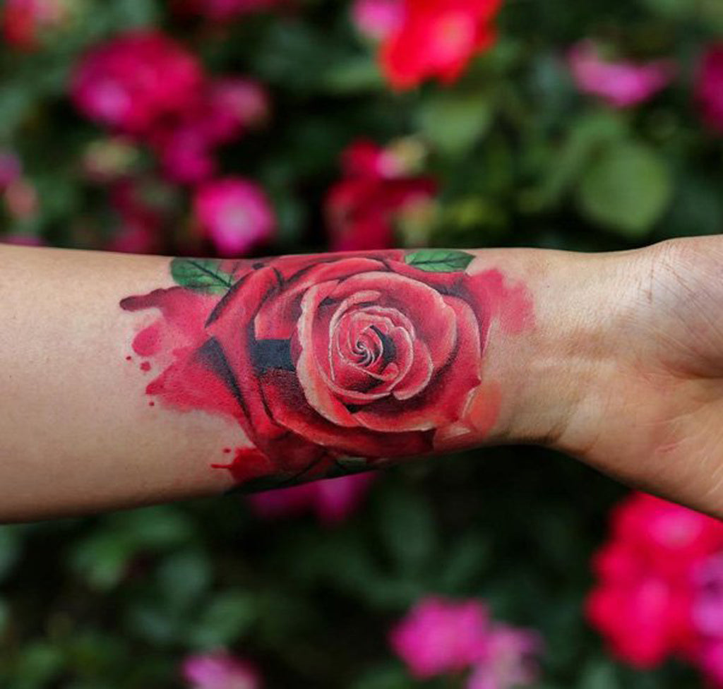 Pink Rose Wrist Tattoo for Women - MyBodiArt.com