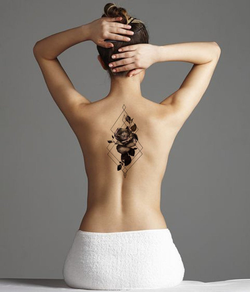 Geometric Black Rose Spine Back Tattoo Ideas for Women at MyBodiArt.com