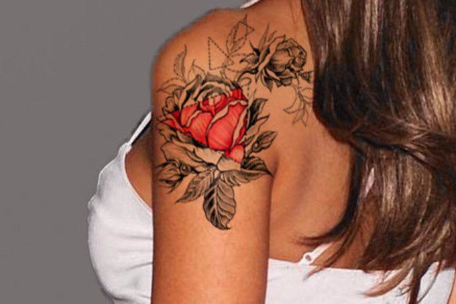 Rose Arm Sleeve Floral Flower Tattoo Ideas Red and Black at MyBodiArt.com