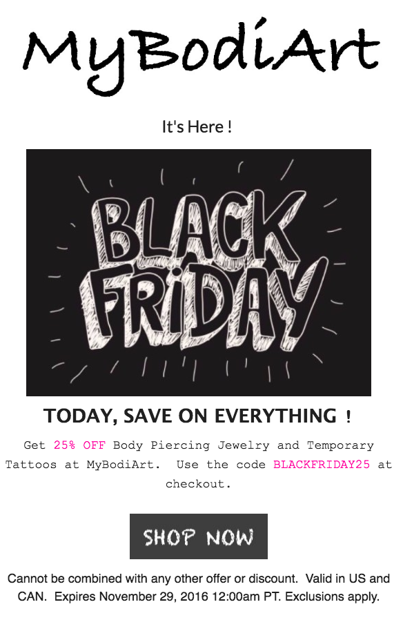 Black Friday Sale 2016 at MyBodiArt.com