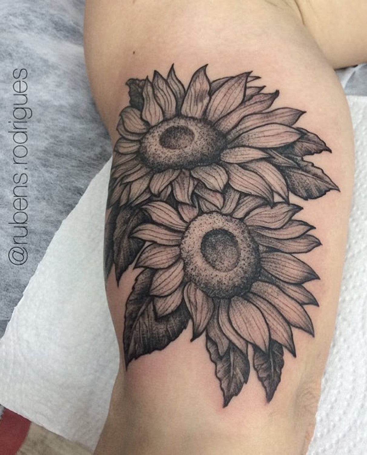 Wild Vintage Traditional Black and White Sunflower Bicep Arm Sleeve Tattoo Ideas for Women at MyBodiArt.com