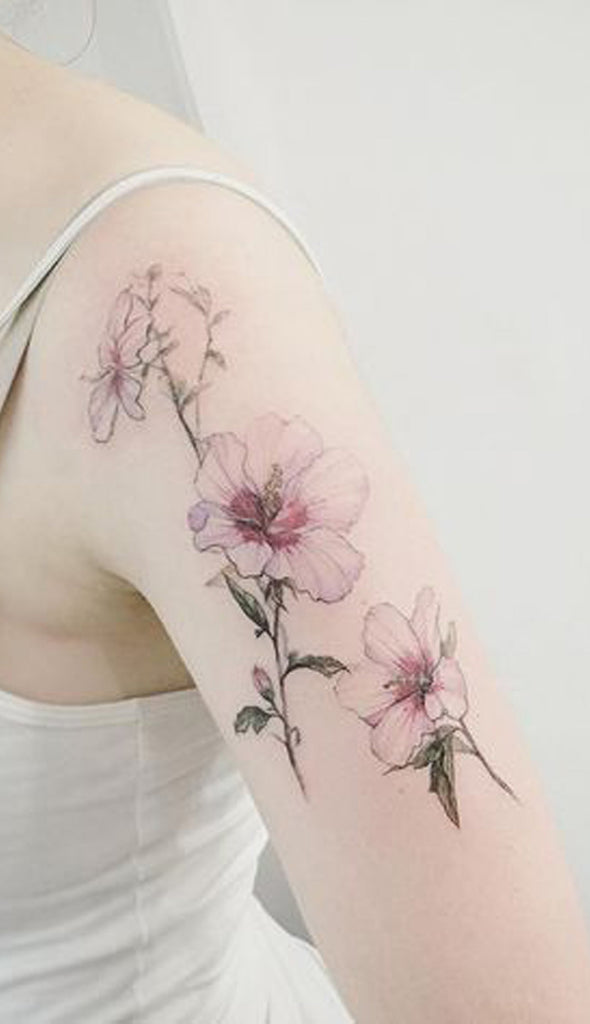 Pretty Floral Flower Shoulder Tattoo Ideas for Women - www.MyBodiArt.com