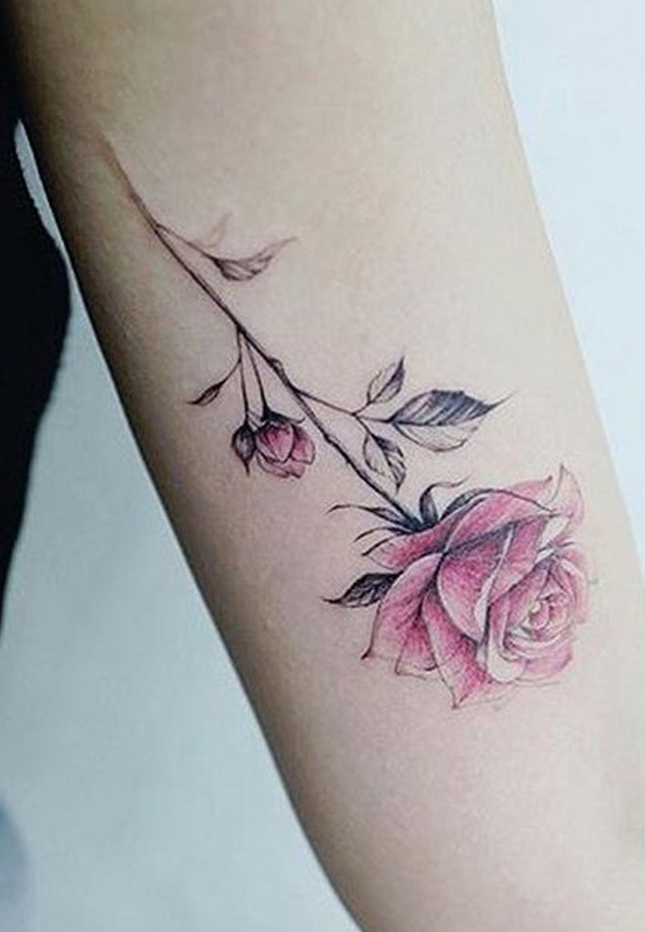 Delicate Pink Watercolor Floral Flower Arm Tattoo Ideas for Women -  Delicado rosa acuarela floral flor brazo tatuaje Ideas para mujeres - www.MyBodiArt.com