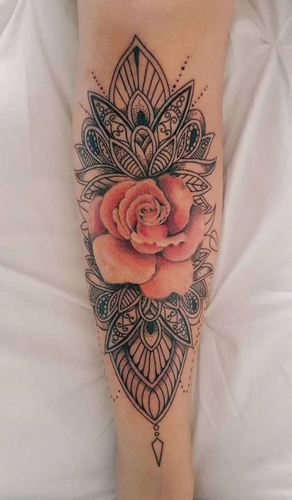 Cool Tribal Unique Mandala Watercolor Pink Rose Forearm Tattoo Ideas for Women - www.MyBodiArt.com
