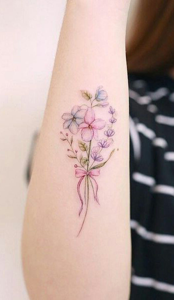 Cute Watercolor Floral Flower Bouquet Forearm Tattoo Ideas for Women - www.MyBodiArt.com