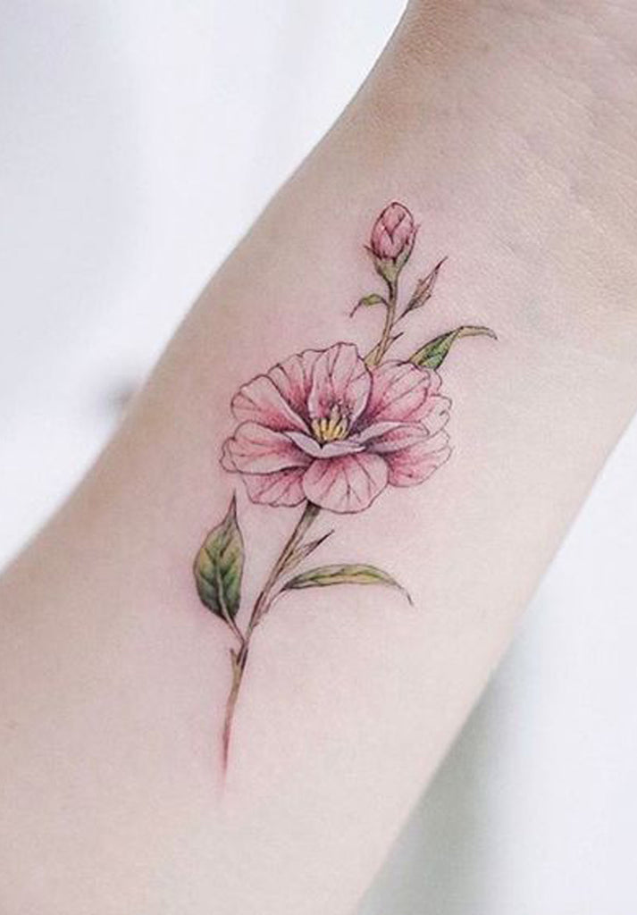 Watercolor Pink Delicate Floral Flower Wrist Tattoo Ideas for Women - www.MyBodiArt.com