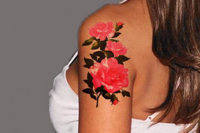 Hot Pink Rose Arm Sleeve Temporary Tattoo at MyBodiArt.com