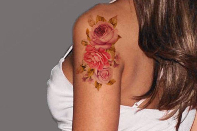 Vintage Pink Rose Floral Flower Tattoo Arm Sleeve Ideas for Women at MyBodiArt.com