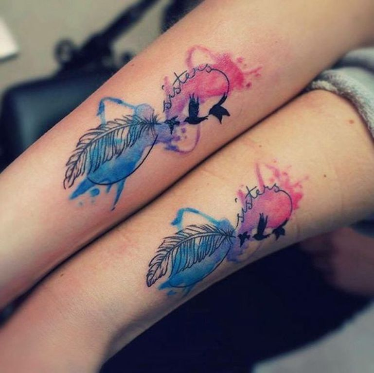 Sisters Family Watercolor Infinity Infiniti Love Tattoo Ideas - MyBodiArt.com