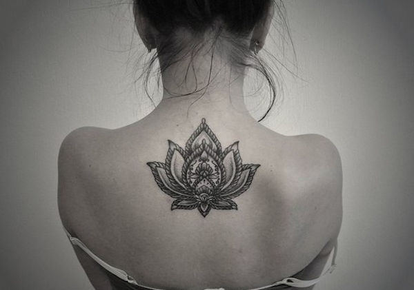Large Upper Back Lotus Flower Tattoo Placement Ideas for Women at MyBodiArt.com