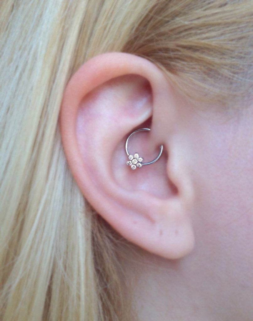 Jewel Flower Daith Rook Ear Piercing Jewelry at MyBodiArt.com