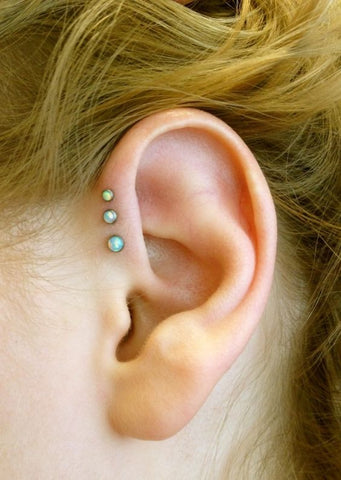 Opal Triple Helix Piercing Jewelry Ideas @MyBodiArt