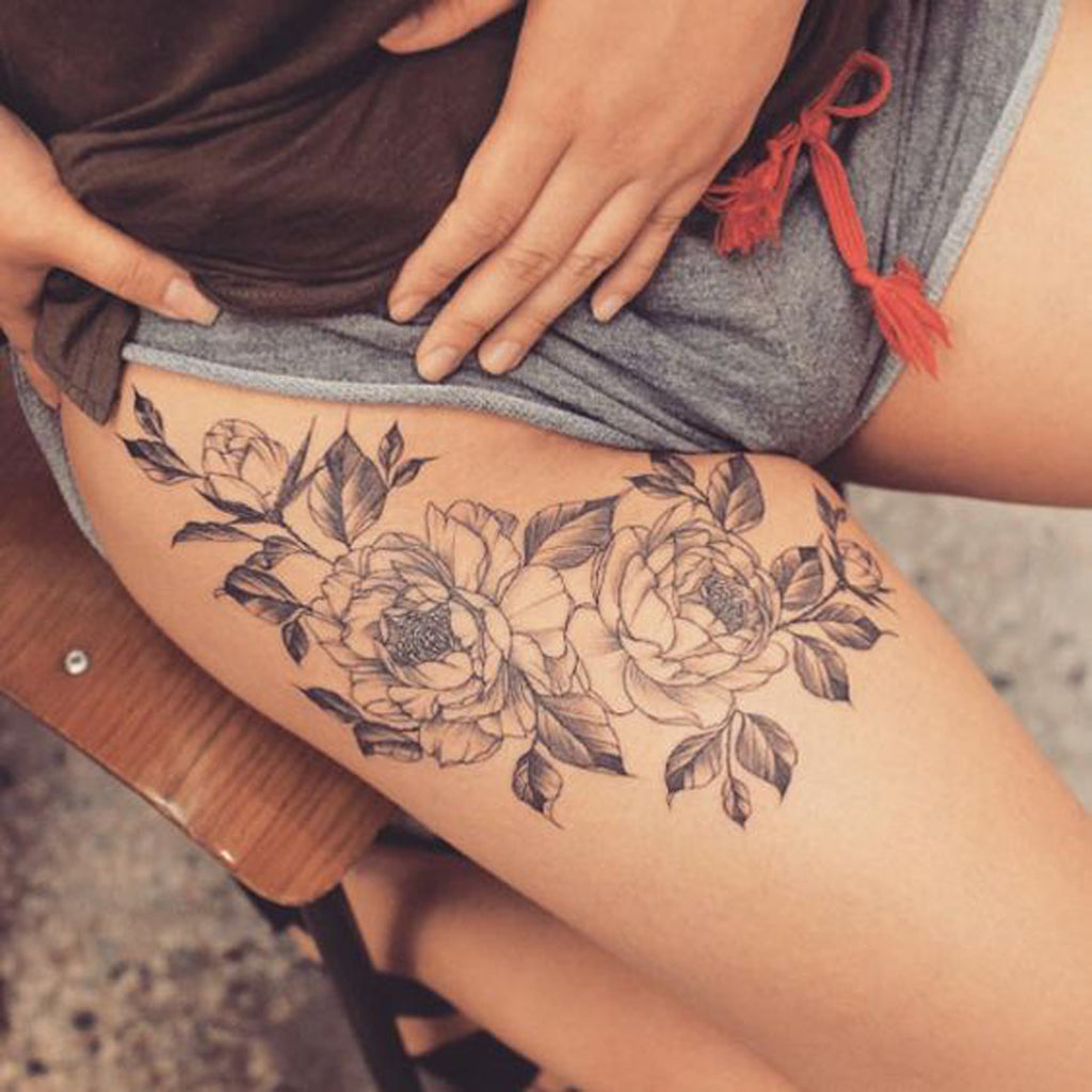 Vintage Black Floral Fleur Flower Womens Thigh Tattoo - MyBodiArt.com