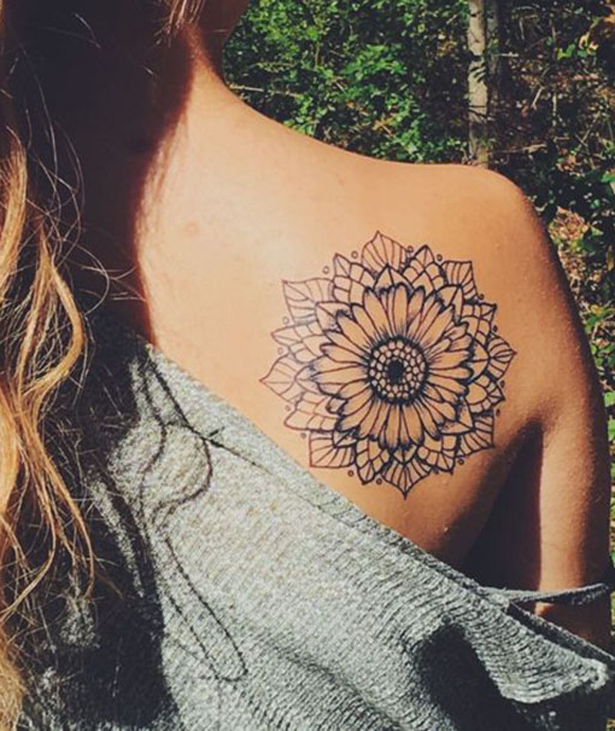 Mandala Sunflower Black and White Back Shoulder Tattoo Ideas at MyBodiArt.com