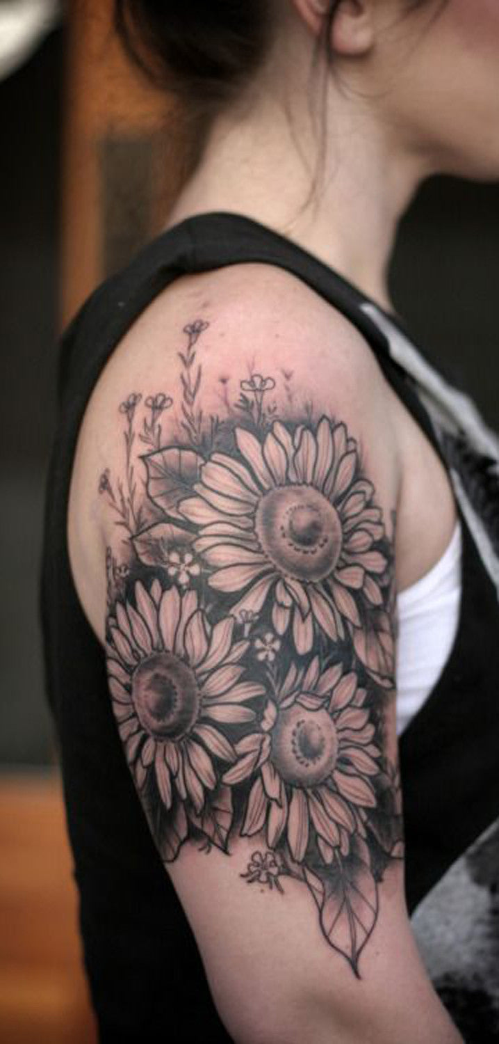 Large Traditional Floral Flower Sunflower Arm Sleeve Tattoo Placement Ideas for Women at MyBodiArt.com