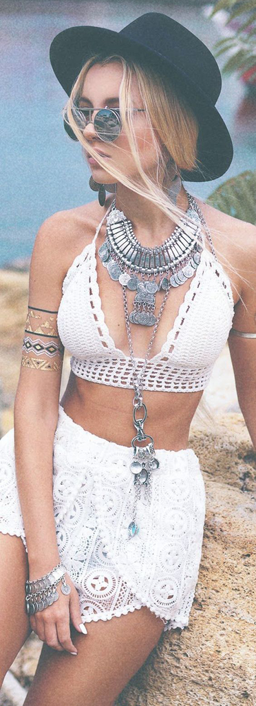 Boho Fashion Summer 2017 Vacation Beach - White Lace Crop Top & Skirt - Silver Coin Medallion Necklace at MyBodiArt.com