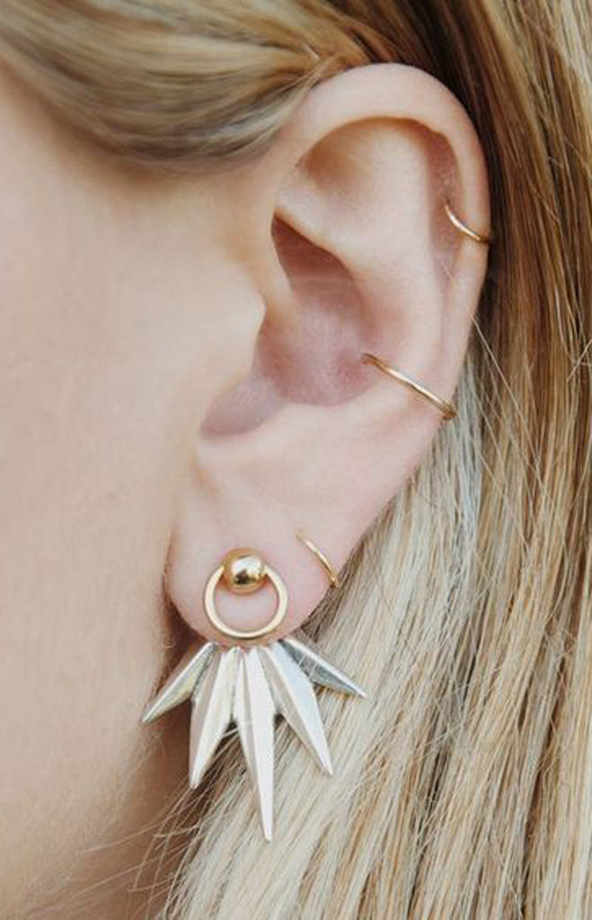 Sun Spikes Gold Ear Jacket - Multiple Ear Piercing Jewelry Ideas - MyBodiArt.com