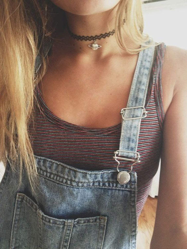 Black Choker Necklace at MyBodiArt.com - Cute Simple Teen Outfits for School -  Overalls Outfit