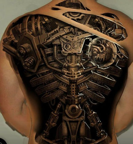 Gear Back Tattoo - MyBodiArt.com