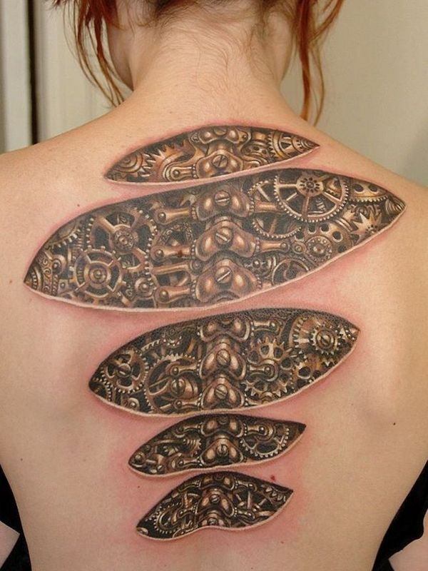 Biomechanical Back Tattoo - MyBodiArt