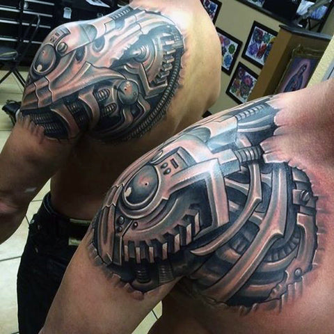 20 cool biomechanical tattoos. Black Bedroom Furniture Sets. Home Design Ideas