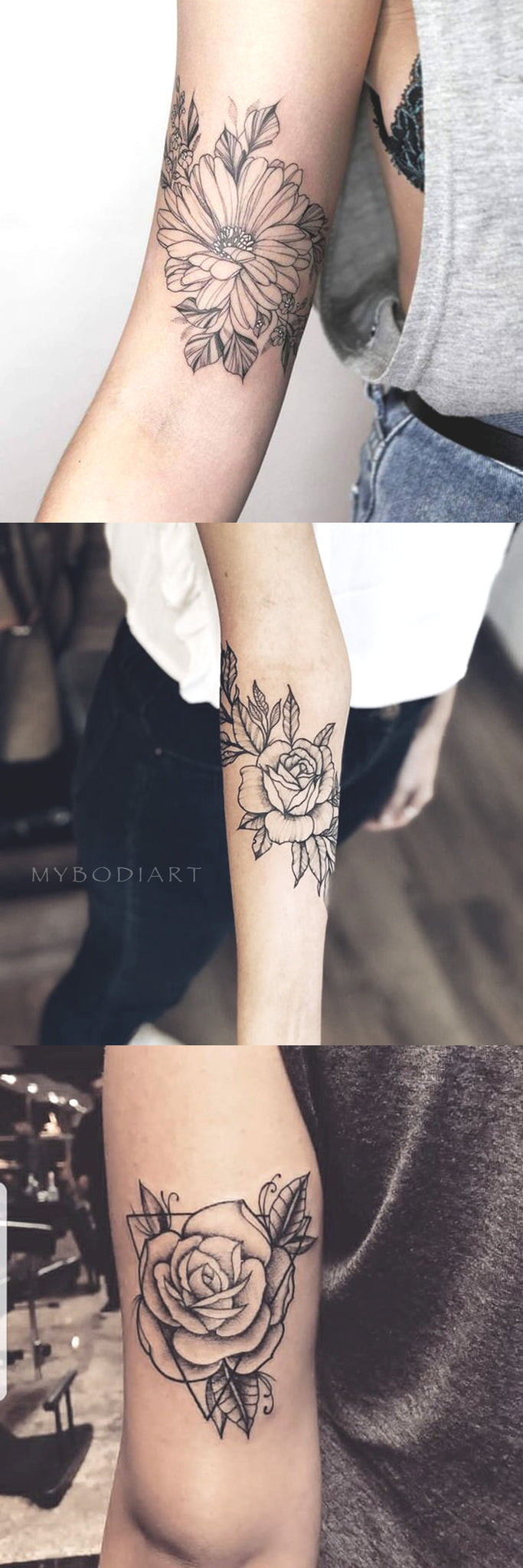 VIntage Traditional Black Outline Rose Sunflower Arm Tattoo Ideas for Women - www.MyBodiArt.com