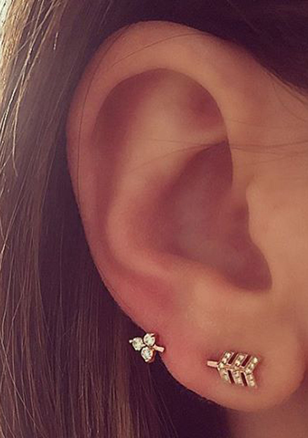 Simple Minimalistic Ear Piercing Ideas at MyBodiArt.com - Crystal Ear Climber Arrow Earrings