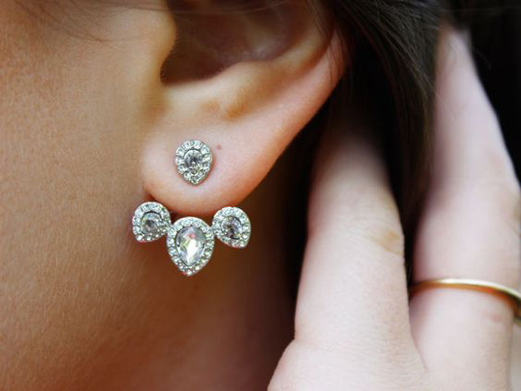 Gemstone Crystal Elegant Silver Ear Jacket Earring - MyBodiArt.com