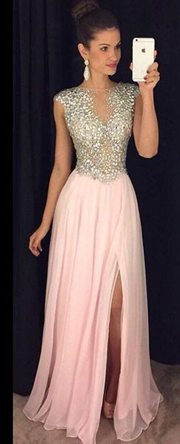 Beautiful Sparkly Rhinestone Sequin Prom Dresses for Teens - Flowy Pink Chiffon Slit Maxi Gown - MyBodiArt.com