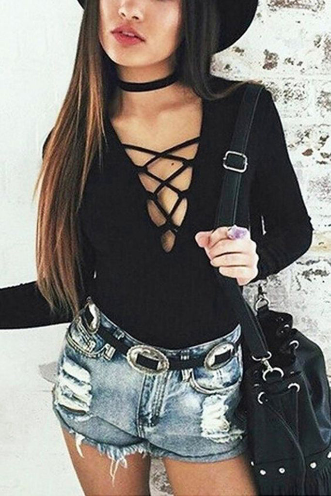 Black Velvet Choker Necklace at MyBodiArt.com - Cute Hipster Boho Bohemian Summer Outfit Ideas - Black Lace Up Tie Up Corset Shirt Top