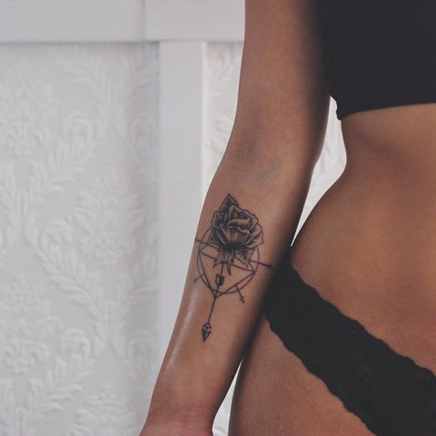 Sexy Arrow Rose Forearm Tattoo Ideas - MyBodiArt