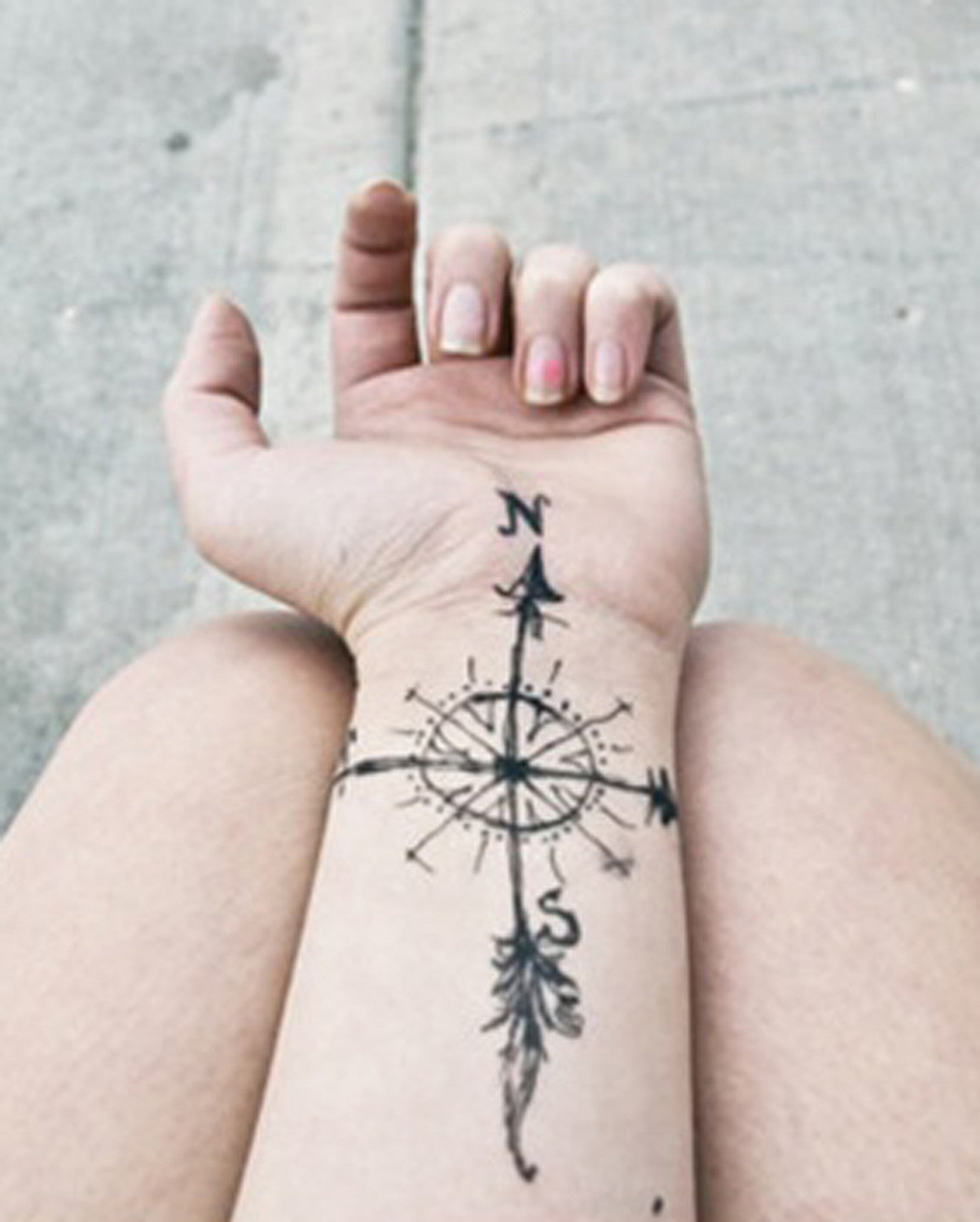 Unique Arrow Feather Compass Wrist Tattoo Ideas for Women - MyBodiArt.com