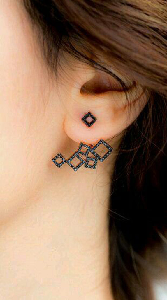 Geometric Black Squares Ear Jacket Earring Piercing Jewelry - MyBodiArt.com