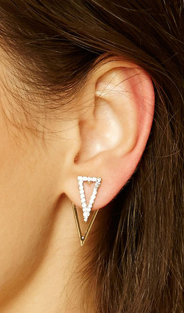 Minimal Geometric Triangle Earrings Ear Jacket - MyBodiArt.com